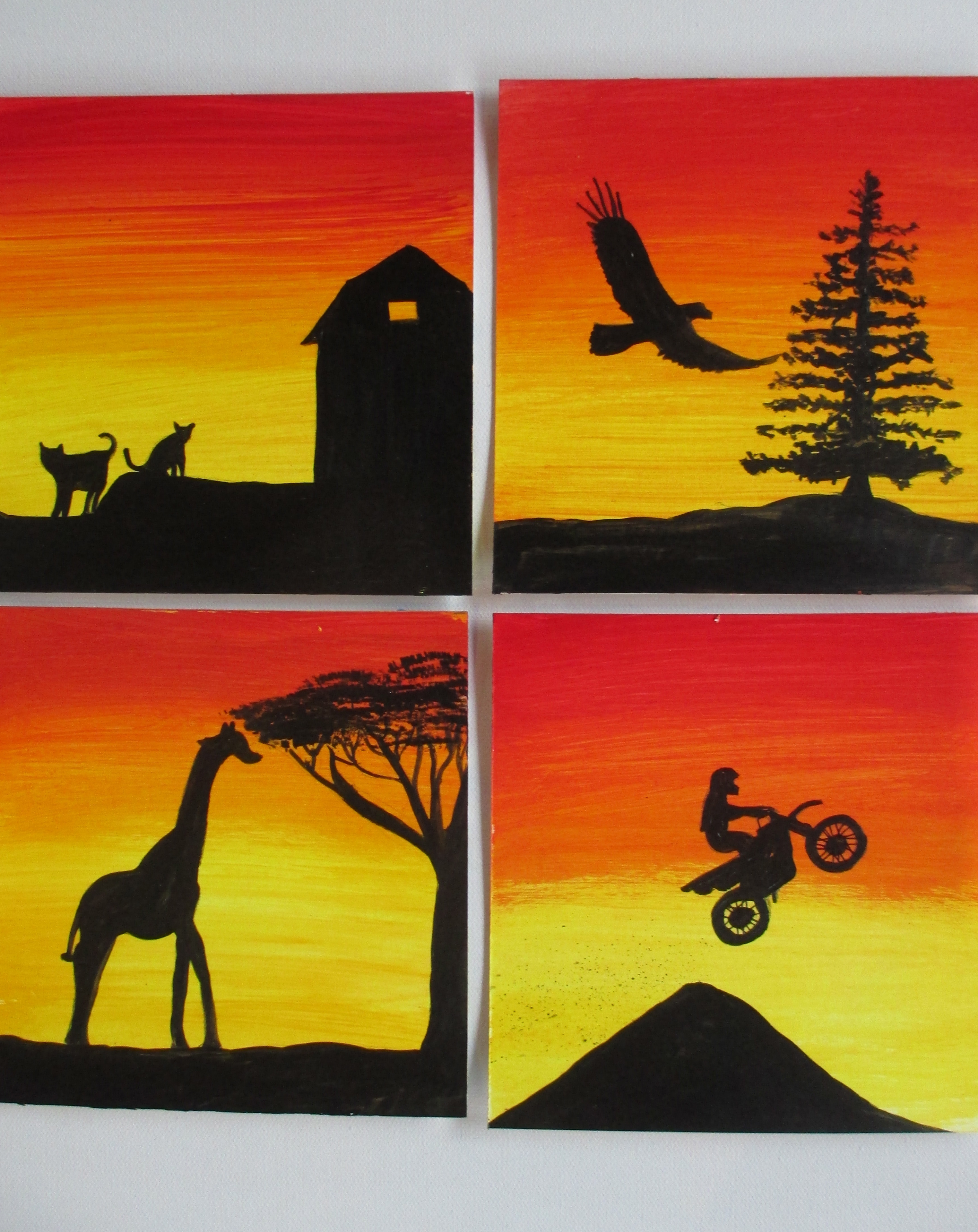 Colorful Canvas Silhouette Paintings for Kids all Ages